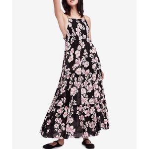 Free People black floral maxi tiered sundress